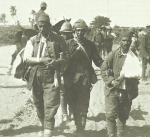 Sinai: 3 wounded Turk PoWs are escorted to the rear