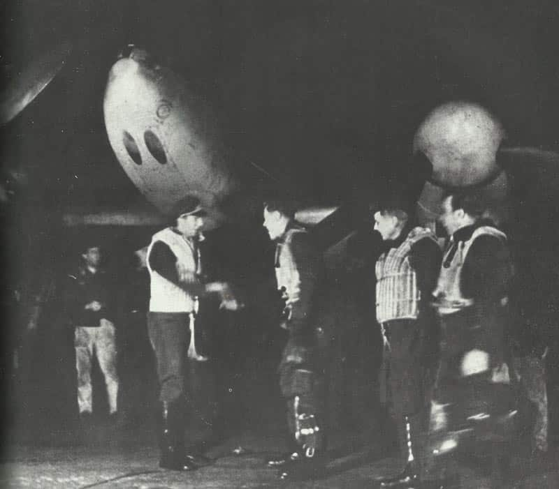 Me 110 night fighters returned from a misison