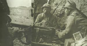 French soldiers man a German machine gun