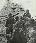 Fire-ready gun of a German submarine