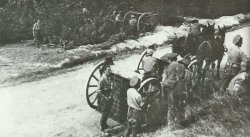 British 18-pdr field guns deployed