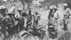 Massai warriors in British service in East Africa drinking blood