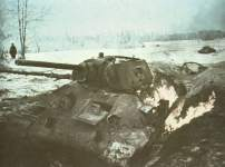 Knocked-out Russian T-34