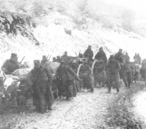 Serbian artillery on the winter move