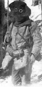 Rumanian soldier wearing ragged and improvised equipment
