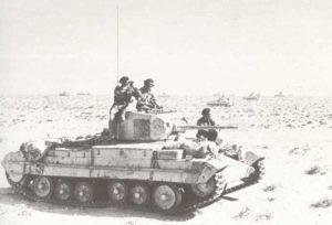 Valentine tanks dispersed over the desert