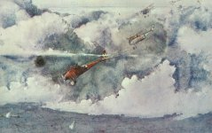 Attack of German Albatros fighters