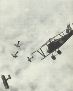 Air combat between British and German fighters