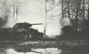 Attack of Russian T-34 tanks