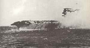 USS Lexington burning