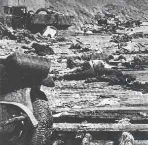 Bodies and destroyed war material on the beach of Kerch.