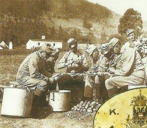 soldiers peele potatoes
