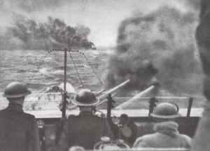 British cruiser under smoke cover
