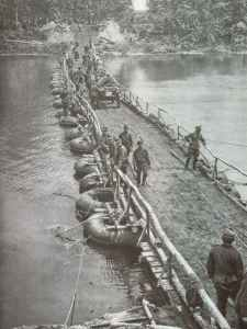 German pontoon bridge across the river Donets