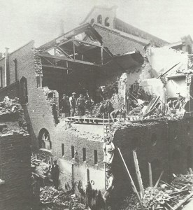 aftermath of a German bomber raid on London