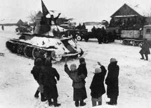 Russian civilians are cheering to the advancing Red Army