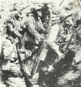 French soldiers await a gas attack