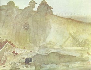 British defenders watch the advancing Germans