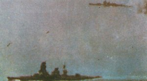 Nagato under air strikes during the Battle of Leyte