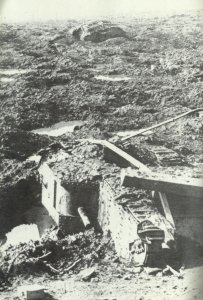 Tank wrecks on the battlefield