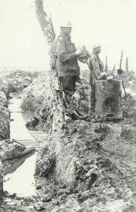 British soldiers at an improvised field kitchen