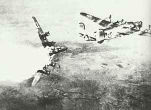 B-24 Liberator hit by anti-aircraft fire