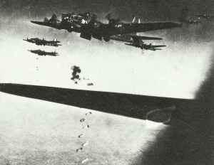 B-17 Flying Fortress are dropping their bombs.