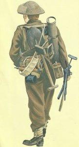 British soldier, armed with Sten sub-machine gun and PIAT