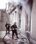 Firefighters fight a fire Kassel