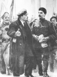 Lenin and Stalin at the station