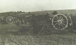 US gunners aim captured German guns