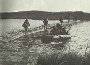 Russian troops crossing the river Dnieper on a simple footbridge