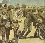 heavily loaded German infantry unit