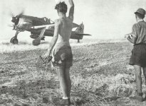 Fw 190 fighter-bomber rolls on a runway in southern Italy