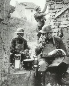 US communications detachment with a field telephone