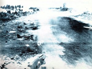 bombing Japanese airfield