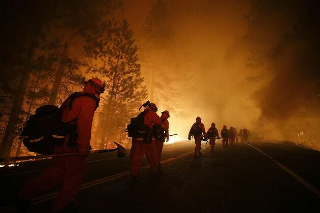 The 2013 Rim Fire near Yosemite National Park has brought together timber industry representatives and environmentalists in a new era of cooperation. Photo: Jae C. Hong, Associated Press