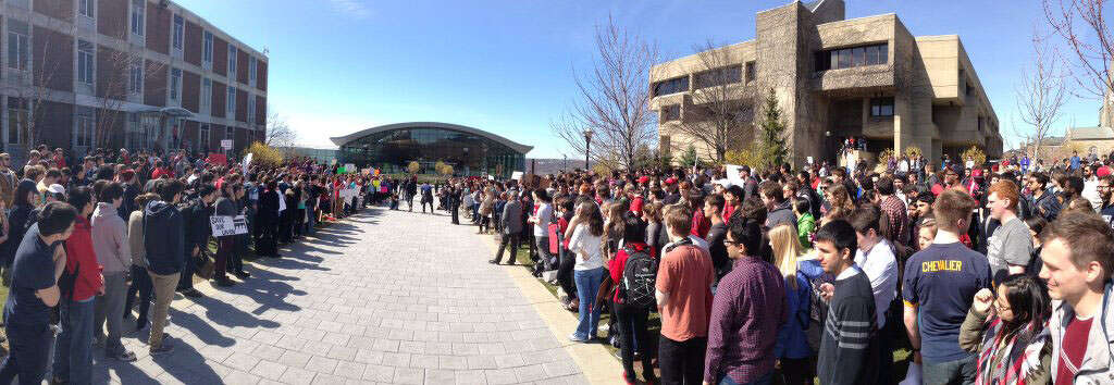 RPI students hold a campus protest on Wednesday afternoon over what they say is the administration being overly controlling. (Paul Bucowski/Times Union)