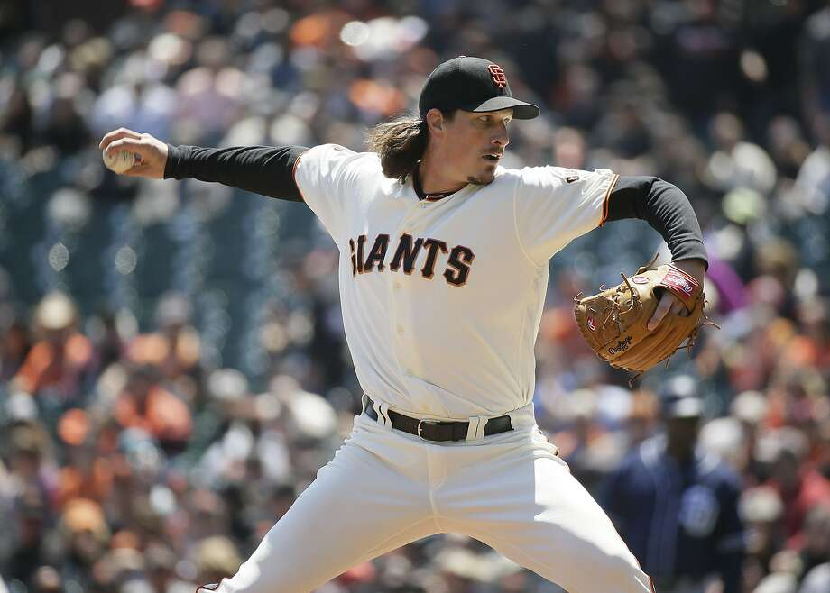 San Francisco Giants starting pitcher Jeff Samardzija throws against the San Diego Padres in the first inning of their baseball game Wednesday, April 27, 2016, in San Francisco. (AP Photo/Eric Risberg) Photo: Eric Risberg, Associated Press