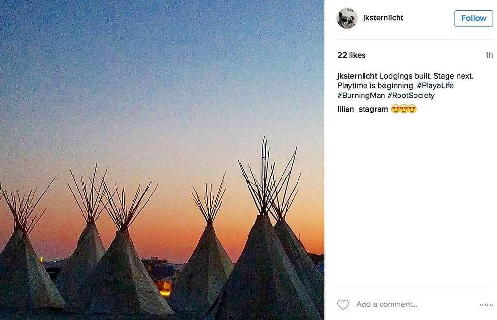 It's always wise to bring plenty of teepee to Burning Man. Photo: Instagram Screenshot