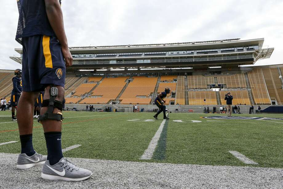 Players run drills at Cal football's first spring practice on Wednesday, March 14, 2017 in Berkeley, Calif. Photo: Amy Osborne, Special To The Chronicle
