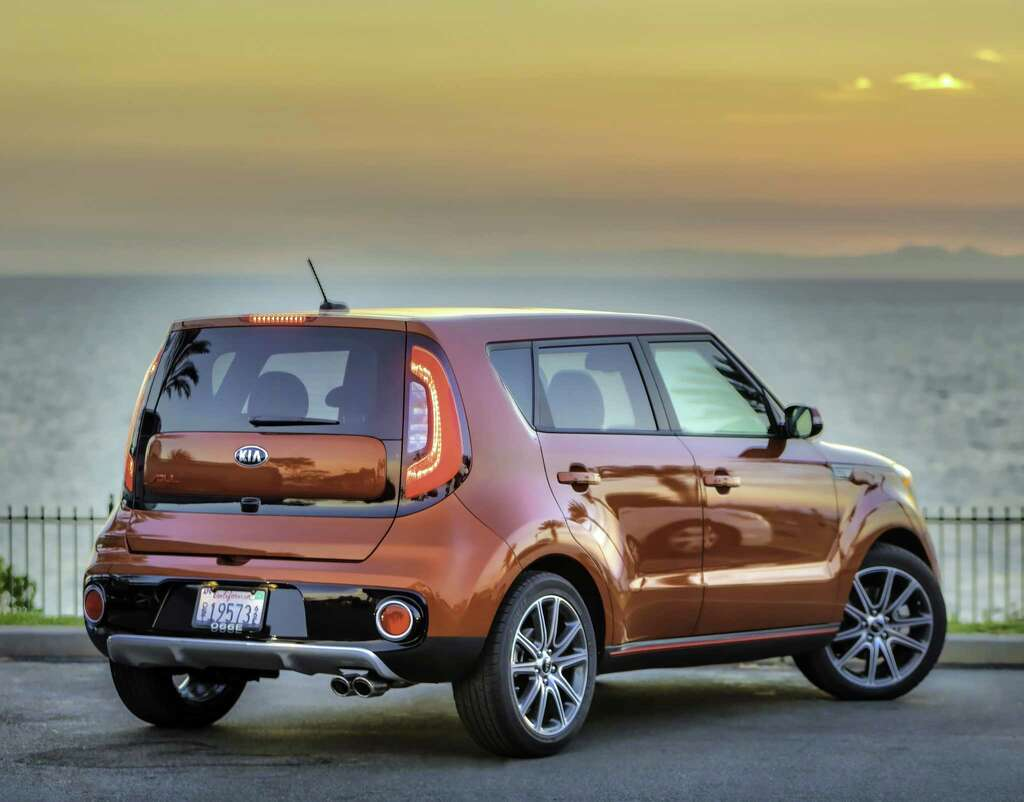 The 2017 Kia Soul Turbo is a subcompact crossover utility vehicle that seats of to five people, and has a 201-horsepower turbocharged 1.6-liter gasoline engine with fuel economy of up to 28 mpg city/highway combined. Photo: Kia   / © Bruce Benedict 2016