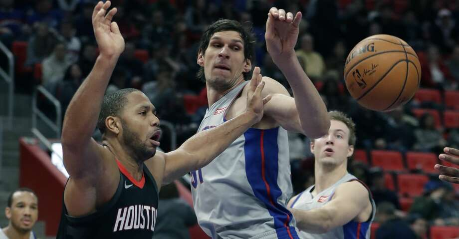 Houston Rockets guard Eric Gordon (10) reaches for the ball after a block by Detroit Pistons center Boban Marjanovic during the second half of an NBA basketball game, Saturday, Jan. 6, 2018, in Detroit. (AP Photo/Carlos Osorio) Photo: Carlos Osorio/Associated Press