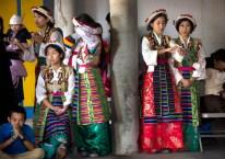 Girls wait to perform in costumes characteristic of central Tibet (L to R): Tenzin Nyima, 17; (seated) Nawang Chokyi, 16; Tenzin Dechen, 18; and Dechen Chuteng, 17.