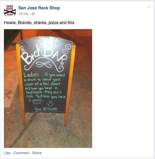 Screen shot of Back Bar's facebook post, 2015. (Courtesy: Richard Gutierrez)