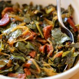 Thanksgiving Recipe:  Collard Greens with Chorizo and Onions