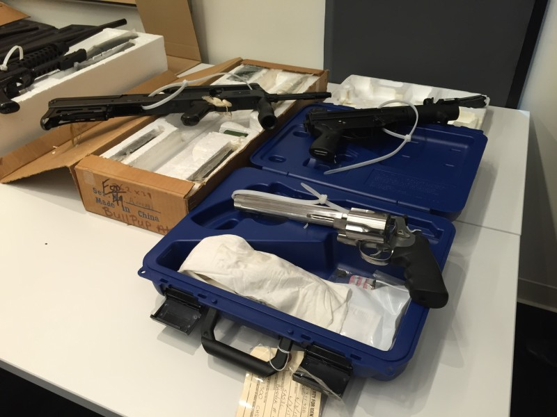 Some of the weaponry San Francisco Police Department investigators seized after serving a search warrant in South San Francisco June 3.
