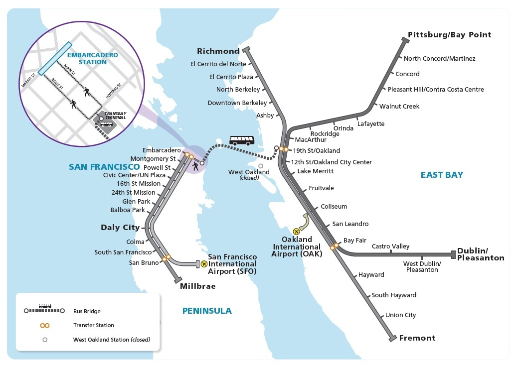 "A map showing BART's ""bus bridge"" planned between 19th Street Oakland Station and the Transbay Terminal in San Francisco during Aug. 1 and 2 and Sept. 5-7 repairs that will close will the Transbay Tube. (Courtesy of BART)"