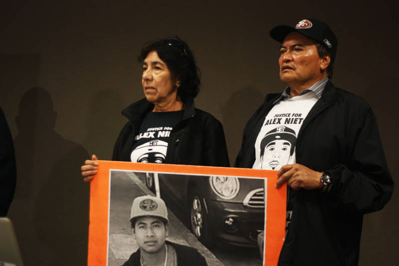 Refugio and Elvira Nieto, whose son, Alejandro Nieto, was fatally shot by SFPD in March 2014, attend a press conference on April 24, 2015, where attorney Arnoldo Casillas announced that a Federal Civil Rights lawsuit was being filed against SFPD for the shooting death of Amilcar Perez Lopez.