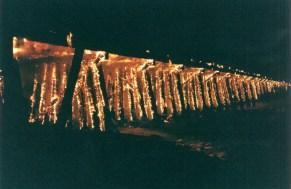 The Dumbarton Rail Bridge trestle on fire, January 3rd, 1998.